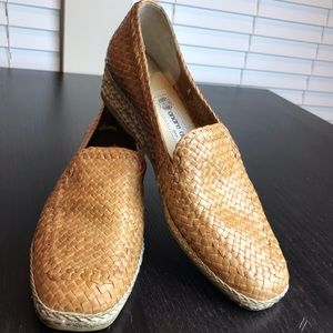 Andre Assous Woven Leather Wedged Loafers